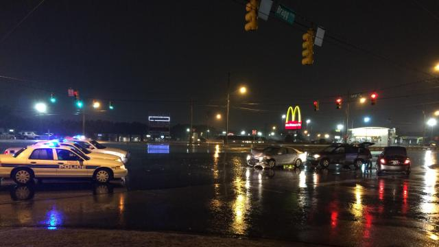 No injuries were reported after a a two vehicle accident at Bragg Boulevard and Carroll Street in Fayetteville on Monday. (Andrew Cumbee/WRAL)