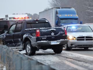 Authorities investigated an accident on Interstate  95 at mile marker 93. (Adam Owens/WRAL)