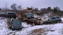 Freezing rain triggering accidents in Triangle