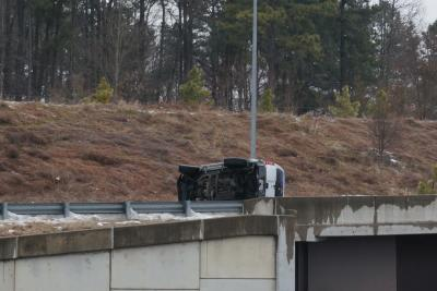 In Durham, a truck flipped on the ramp from U.S. 70 Business to Interstate 85 on March 1, 2015.