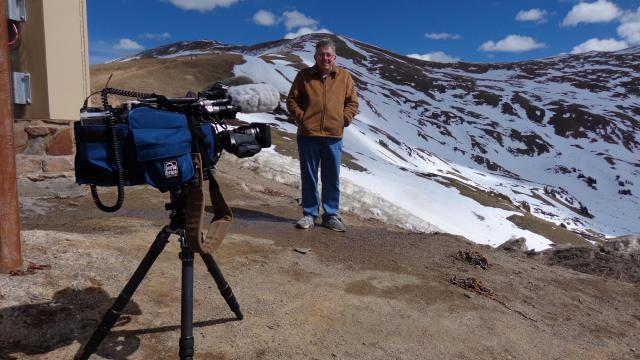 Greg Fishel prepares for a video shoot at Loveland Pass.