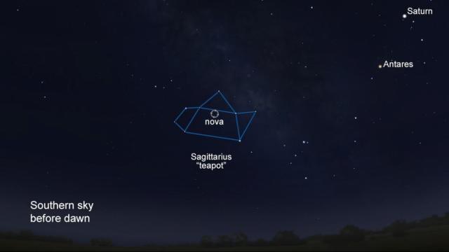 Nova Sagittarius is visible, to the naked eye in dark locations, within the pre-dawn southern sky in Sagittarius' teapot shape (Stellarium/Rice)