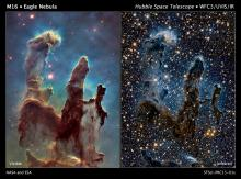 Unseen structures are revealed in the Pillars of Creation in infrared lights. Credit: STScI/ESA