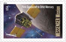 MESSENGER mission was honored with a stamp in 2011. (Credit: USPS, NASA/JPL)