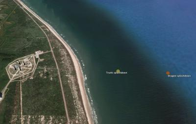 The Pad Abort Test ends less than a mile off the Cape Canaveral beaches (Credit: Google Earth, Rice)