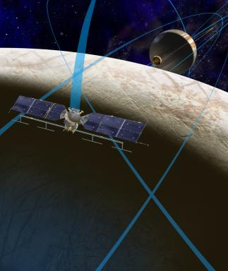 Concept for a future NASA mission to Europa in which a spacecraft would make multiple close flybys of the icy Jovian moon.