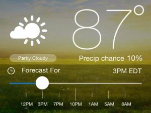 WRAL Weather app screeenshot of current conditions and hourly forecast page.