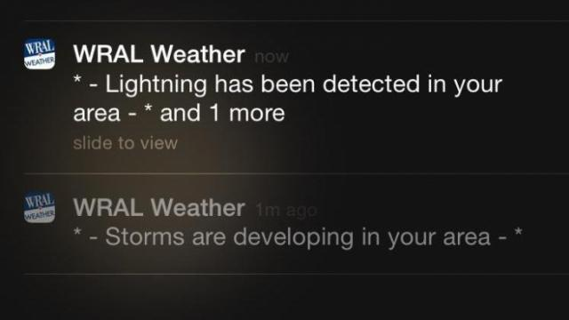 The new and improved WRAL Weather app can alert you to lightning in the area as well as developing storms near you.