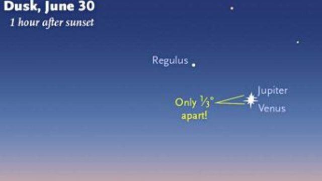 Look to the west after sunset for a rare conjunction of Jupiter and Venus, separated by just 1/3 degree, if clouds spoil the view try again throughout the week, separation increases by only about 1/2 degree nightly. Image: Sky and Telescope