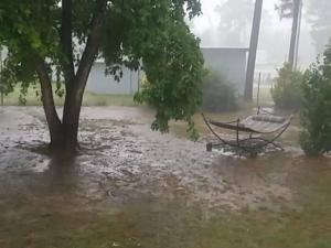 A mid-day downpour flooded this Holly Springs yard.  (Photo courtesy: Pam Skildum)