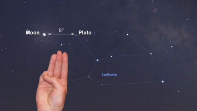 You can find Pluto's position in the sky Wednesday night just 5 degrees from the nearly full moon