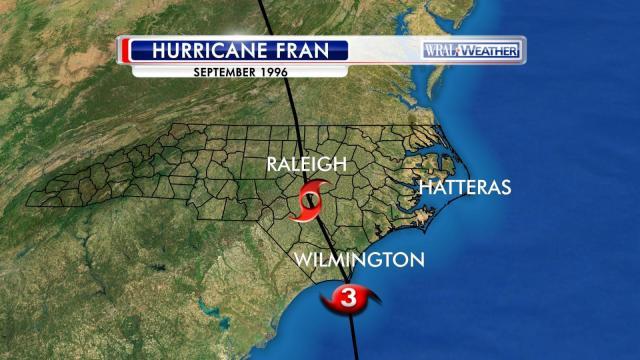 Path of Hurricane Fran, Sept. 1996