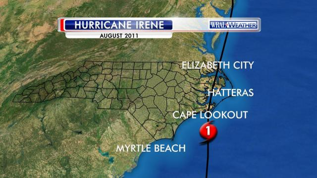 Path of Hurricane Irene, Aug. 2011