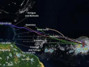 Forecast tracks for a tropical disturbance moving toward the Caribbean.