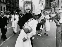 Alfred Eisenstaedt captured the excitement in the streets of New York city on news of the end of World War II (Credit Eisenstaedt/Life Magazine)
