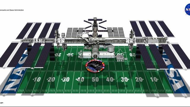 The now completed International Space Station spans a football field