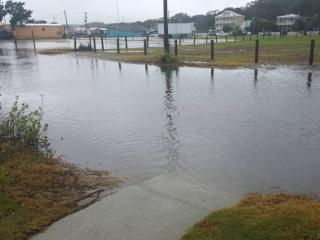 Streets flooded Friday in downtown Southport, NC.