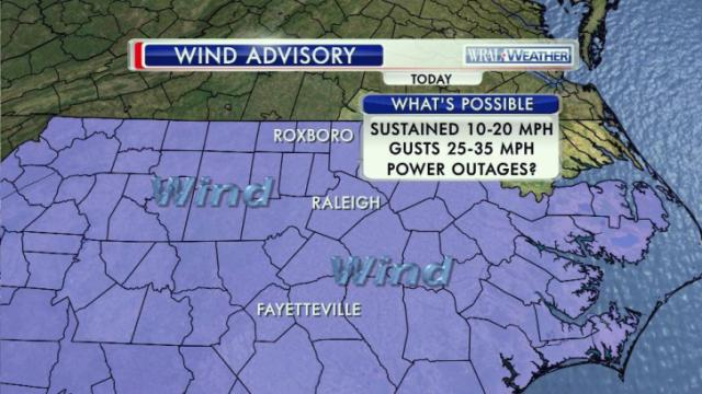 The National Weather Service has issued a wind advisory for much of North Carolina until 4 p.m. Oct. 5, 2015.