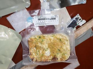 Cornbread stuffing, a Thanksgiving favorite aboard the ISS (Credit: NASA/JSC)