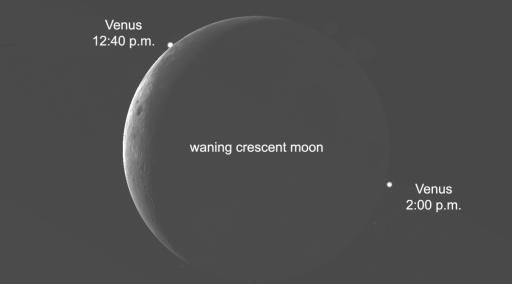 Venus will disappear behind the moon between 12:40 p.m. and 2:00 p.m. low on the west-southwest horizon.