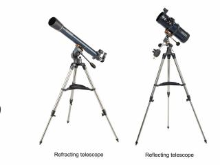 Table-top telescopes offer stable images at a low cost, Refracting telescopes provide right-side-up images for terrestrial viewing.  Reflecting telescopes offer more aperture at a lower price (Credit: Orion, Celestron)