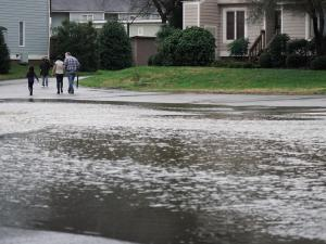 Flooding at Bolin Creek led to access issues at the Brookwood Condos in Chapel Hill.