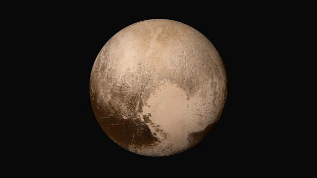 Four images from New Horizons' Long Range Reconnaissance Imager (LORRI) were combined with color data from the Ralph instrument to create this natural color view of Pluto. (Credit: NASA/Johns Hopkins APL/SwRI)