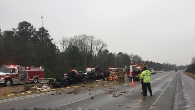 Overturned truck on I-40