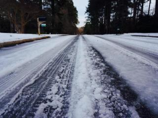 Some residential streets in Wake County were still slushy and icy by Monday evening.