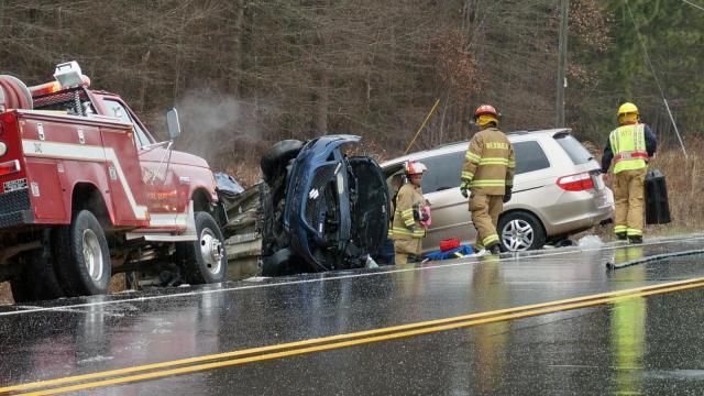 Two vehicles were invovled in a wreck Friday afternoon on N.C. Highway 401 in Fayetteville. (Photo by Michael Joyner)