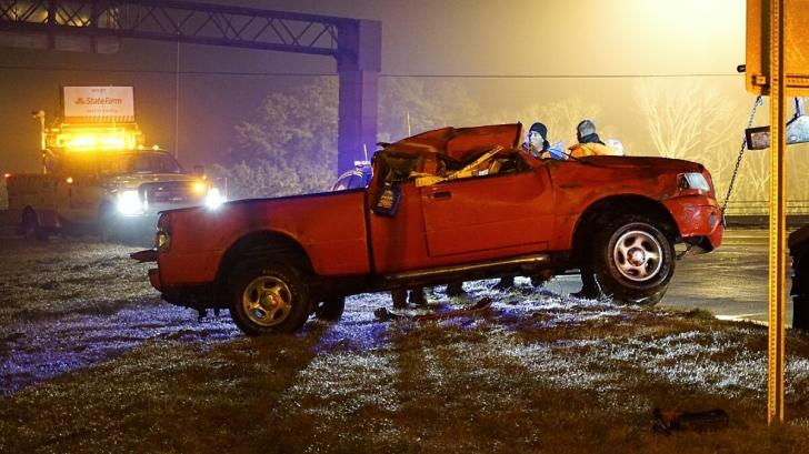 A truck that crashed at about 6 a.m. Monday was finally cleared from the scene 12 hours later.