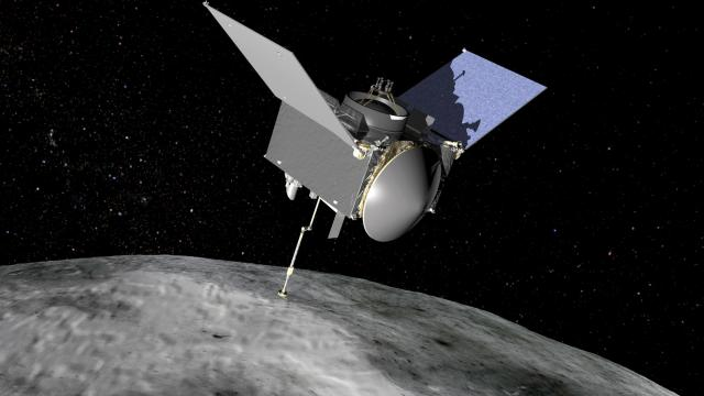 OSIRIS-REx spacecraft at asteroid Bennu (Credit: NASA/JPL)