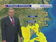 WRAL Chief Meteorologist Greg Fishel tracks the potential to see tornadoes Wednesday morning and afternoon.