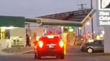 Gas station roof rips off during storm
