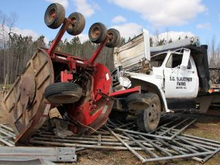 A Feb. 24, 2016, tornado destroyed every building, damaged equipment and killed four cattle on Sherby Slaughter's farm near Oxford.