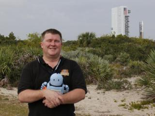 Kelvin, mascot of the NC Science Festival, often accompanies me in my travels to NASA centers, like this 2013 launch of the MAVEN probe to Mars (Credit: NASA/KSC)