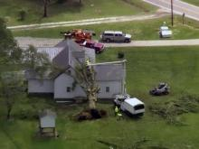 Photos from Sky 5 show storm damage in Zebulon on April 29, 2016.