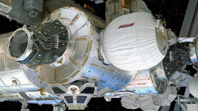 Artist's concept of the inflated Bigelow Expandable Activity Module docked to the International Space Station's Tranquility module. (Credit: Bigelow Aerospace)