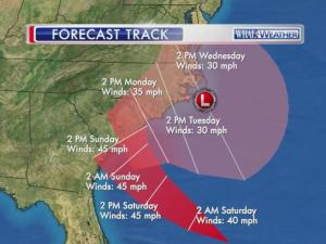 A tropical system could mean days of wind and rain into next week.