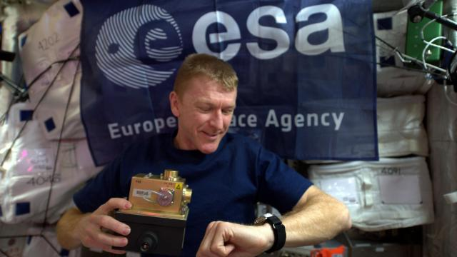 British Astronaut Tim Peake flies the ESA flag during a recent stay aboard the International Space Station (Credit: ESA/NASA)