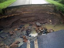 Authorities in Durham County shut down a portion of Glenn Road early Monday after a large sinkhole opened up between Club Boulevard and Bundy Avenue Sunday night.