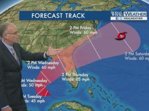 Forecast track: Tropical depression 8
