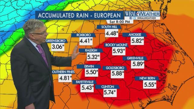 Greg Fishel shows models for rain forecast through Sept. 3, 2016
