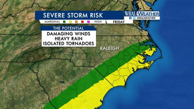 Many have asked about the threat of tornadoes for tomorrow and tomorrow night and this might help clear up who has the greatest threat. The areas shaded in yellow have an 'Elevated Risk' for severe weather associated with Hermine. This region has the potential to see some isolated tornadoes spin off from Hermine. The areas in green run a 'Marginal Risk' for severe weather and a slim chance a tornado could be produced.