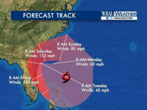 The latest track from NHC hasn't changed much.  Matthew will hit Florida this evening as a Cat. 4 storm with winds 145 mph.  It travels the coast all the way to SC before making that sharp right turn.  Even though NC is out of the forecast fan we will still see a good bit of rain and windy conditions here tomorrow and Saturday.