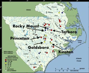 Map of North Carolina flooding