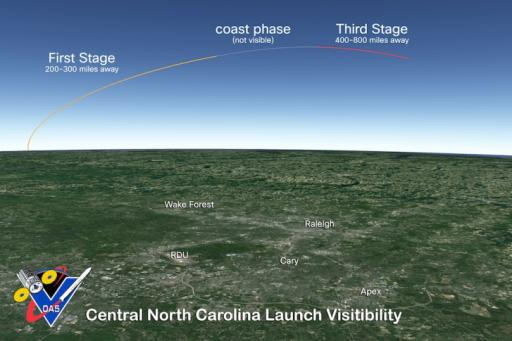 Launch visible in central NC