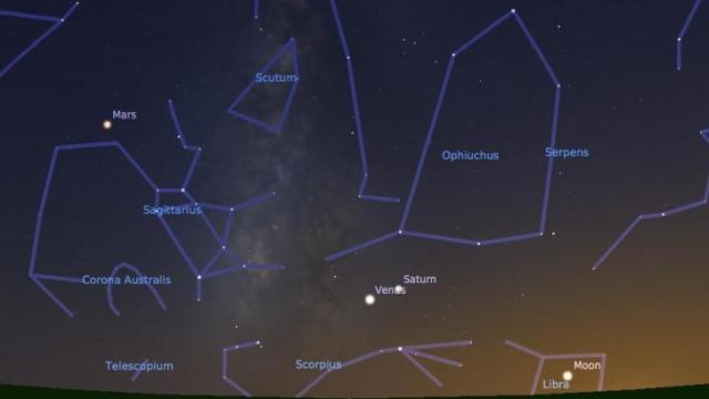 Venus, Saturn, and Mars are visible in tonight's southwestern Halloween sky.