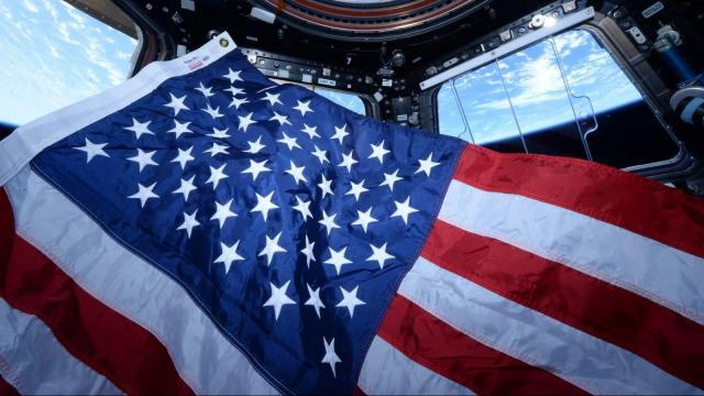 NASA astronaut Scott Kelly took this photograph in the cupola of the International Space Station on Flag Day 2015. Photo courtesy of NASA