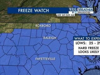 Expect the first freeze of the season Saturday night.